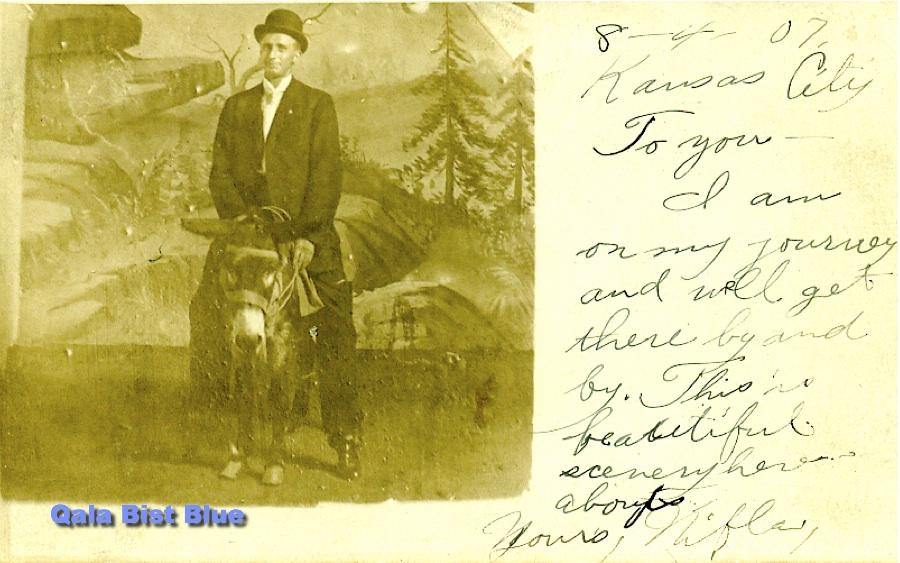 Alfin (Nifla) Backlund on a donkey - 1907