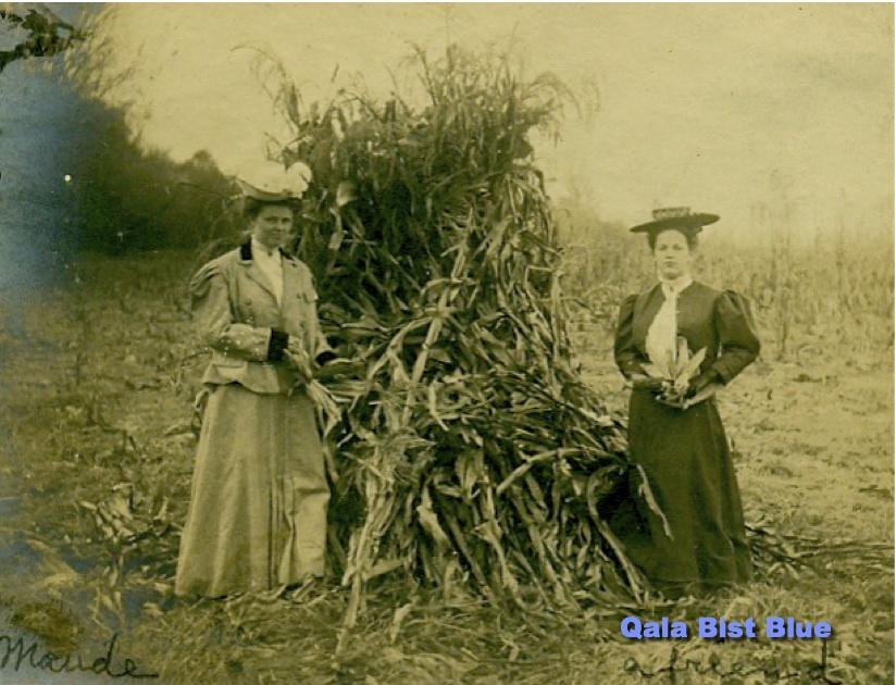 Maude Cline and a friend in Lasita, Kansas