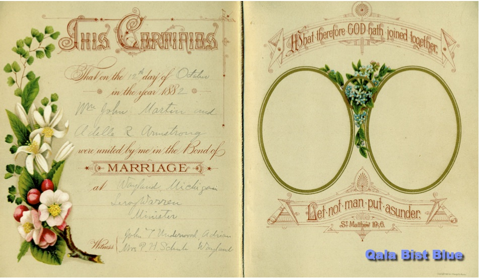W.J. Martin and Rosa Adelle Armstrong Marriage Certificate - 1882